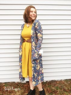 Add a pop of color with a Mustard LuLaRoe Amelia dress belted with a stunning floral LuLaRoe duster eight Sarah cardigan! // Facebook: LuLARoe Lauren Burgess