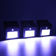 Exlight 6 LED Outdoor Motion Sensor Solar Light Induction Wireless Waterproof With No Energy Light Human Body Control Micro Light Function Night Light Set of 3
