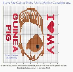 Color Charts and Tapestry by Maria Merlino: Guinea Pig Chart for Crochet or Cross Stitch