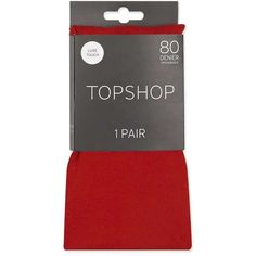 Topshop Red 80 Denier Tights (£6) ❤ liked on Polyvore featuring intimates, hosiery, tights, red opaque tights, red tights, opaque pantyhose, red pantyhose and opaque stockings