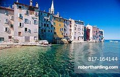 The Adriatic Sea laps at the old town of Rovinj (Rovigno) on a beautiful summer morning, Istrian Peninsula, Croatia, Mediterranean Sea