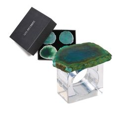 Agate Slab Napkin Ring by Kim Seybert | Green/Crystal | Set of 4