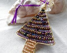 Christmas Tree Shaped Beaded Wire Ornament Gold Purple Bronze, holiday, home decor, whimsical