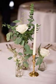A Romantic Southern Wedding: Mary + Dan info Bud vase centerpiec… A Romantic Southern Wedding: Mary + Dan info Bud vase centerpieces with white florals and eucalyptus at classy southern barn wedding Unique Centerpieces, Wedding Table Centerpieces, Wedding Flower Arrangements, Flower Centerpieces, Flower Decorations, Wedding Decorations, Centerpiece Ideas, Graduation Centerpiece, Quinceanera Centerpieces
