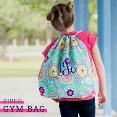 Monogram Piper Backpack Monogram Girls Backpack for Back to School Hot Pink Piper Print with Yellow and Aqua Piper Backpack