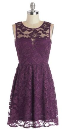Modcloth:  short purple lace bridesmaid dress