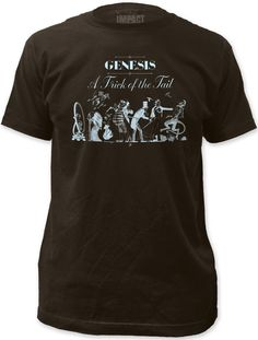 This men's classic Genesis tshirt features the album cover artwork to A Trick of the Tail: the progressive rock band's seventh studio release. Released in 1976, A Trick of the Tail was the first Genesis record with Phil Collins on lead vocals because Peter Gabriel had left the group to pursue a solo career. Our men's Trick of the Tail tee is made from 100% black cotton.