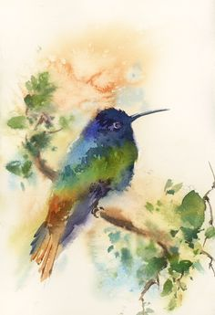 Hummingbird Painting, Original Watercolor Painting, painting of bird, bird wall art, watercolour art, bird on a branch by CanotStop on Etsy https://www.etsy.com/listing/512992160/hummingbird-painting-original-watercolor #watercolorarts