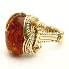 Handmade Wire Wrap Two Tone Sterling Silver/14kt Gold Filled Amber Ring