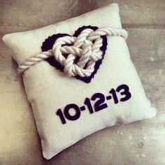 Celtic heart ring bearer pillow, nautical, beach theme via Etsy