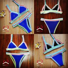Neoprene& Crochet Handmade Bohemian Style Bikini Blue & Colorful Trim AU Stock #bikini #swimwear #summer #love #swim #beach #style #online #store. Bikini Swimwear, Bikinis, Blue Bikini, Bikini Fashion, Bohemian Style, Colorful, Store, Crochet, Beach