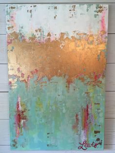 Original painting abstract blue and green por katherinelewis13