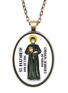 St Elizabeth Ann Setton Patron of Catholic Schools Huge 30x40mm Antique Copper Pendant
