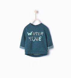 """winter love"" sweatshirt-Sweatshirts-Baby girl | 3 months-4 years-KIDS | ZARA United Kingdom"