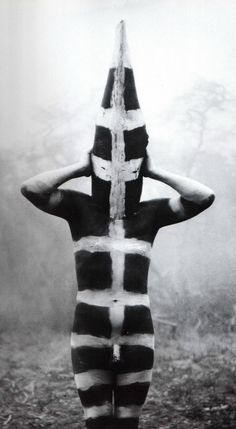 Martin Gusinde, Selk'nam man dressed for Hain Cerimony, 1923