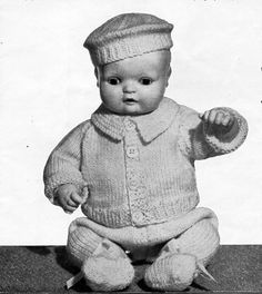 DC009  doll clothes knitting pattern PDF baby doll outfits boy doll girl doll pram sets vintage 50s 12 14 16 inch doll 4ply instant download  All patterns are in English. Please refer to the pictures above for information from pattern on sizes, materials used, needle size etc. Click on the white arrow half way up the picture on the right side. Where a discontinued yarn is used, I check the needle size for a modern equivalent and include in the description. This is meant as a guide only…