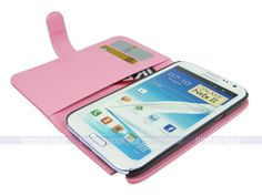 Pink Leather Wallet Case Cover for Samsung Galaxy Note II 2 with Card Slot | eBay