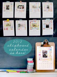 Clipboard calendar from Sarah Ahearn Bellemare
