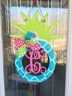 A personal favorite from my Etsy shop https://www.etsy.com/listing/519804771/pineapple-door-hanger-summer-door-hanger