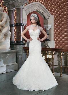 CHARMING TULLE MERMAID JEWEL NECKLINE EMPIRE WAISTLINE WEDDING DRESS WITH DELICATE BEADINGS AND RHINESTONES