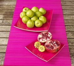 Punchy Pink this season's brightest colours. Martinez plates set of 2, get these handmade bamboo square plates at Oasis Homewares.