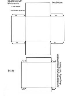 Square box template on Craftsuprint designed by Carol Dunne - Template of a box with a square base and a lid that you can decorate yourself.The size is 7cm x 7cm x 4cm  - Now available for download!