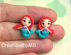 litlle mermaid ariel stud earrings polymer clay by CreationsbyMD