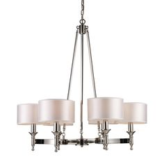 Elk Lighting 'Pembroke' 6-light Polished Nickel Chandelier | Overstock™ Shopping - Great Deals on ELK LIGHTING Chandeliers & Pendants