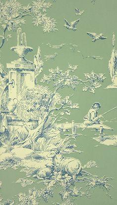 La Fontaine Toile Wallpaper A toile wallpaper depicting a traditional farmyard scene in blue on sage.