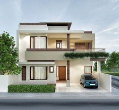 Architectural previsualization renders n Bungalow Haus Design, Duplex House Design, House Front Design, Small House Design, Modern Exterior House Designs, Modern House Plans, Modern House Design, Indian House Exterior Design, Modern House Facades