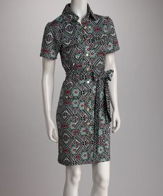 Take a look at this Kaleidoscope Collared Tie-Waist Dress by Tracy Negoshian on @zulily today!