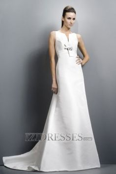 A-line Bateau Satin A-Line Wedding Dresses at IZIDRESSES.com
