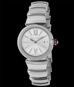 Bulgari Lvcea in Stainless Steel with silver sunburst guilloche. Available at Cellini Jewelers