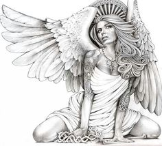 Kneeling woman with angel wings glances skyward with a tear in her eye. Her head is crowned by a crest of heaven. Title: Crying Angel Artist: Mouse Lopez Made-to-order giclee fine art reproductions on Sexy Tattoos, Body Art Tattoos, Skull Tattoos, Rose Tattoos, Sleeve Tattoos, Flower Tattoos, Wing Tattoos, Animal Tattoos, Stretched Canvas Prints
