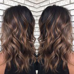 Brown Hair Caramel Balayage, Caramel Hair Highlights, Highlights For Dark Brown Hair, Black Brown Hair, Hair Color Caramel, Short Brown Hair, Balayage Brunette, Hair Color For Black Hair, Brown Hair Colors