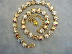 Ivory Champagne Crystal and Pearl Bridal Necklace the-crystal-rose.com