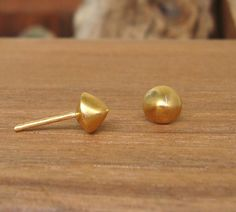 Small Round Pyramid Cone Stud Earrings 24k gold plated.  33