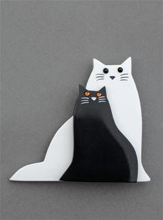 Broche chats. Marie-Christine Pavone.