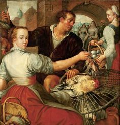 Joachim Beuckelaer Market scene with a poultry seller. 1560s. oil on panel. 110 × 108 cm (43.3 × 42.5 in). Warsaw, National Museum in Warsaw (MNW).
