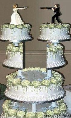 HAHAHAHA! Classy red neck wedding cake. Sam would love this. Lol