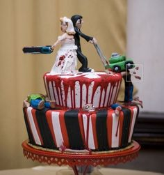 The Zombie Wedding cake topper above and the one below are from ZombiesbyZombiatch on Etsy, Sadly the one on the top looks like it's sold out, but there are other designs. But who the hell wo… Zombie Wedding Cakes, Funny Wedding Cakes, Themed Wedding Cakes, Wedding Cake Toppers, Zombie Cakes, Scary Cakes, Bolo Zumba, Beautiful Cakes, Amazing Cakes