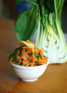 bok choy coleslaw.  This is gonna be a great way to use the giant Bok Choy growing in my winter garden.  Yum.
