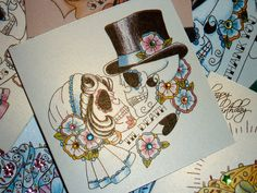 Bride and groom sugar skull, Dias de los Muertos, tattoo flash luxury handmade wedding card or congratulations card, hand trimmed, folded and finished. Made by Vickilicious designs. | Vickilicious Designs