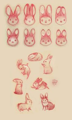 Lots of rabbit faces and some fun with poses and shapes.