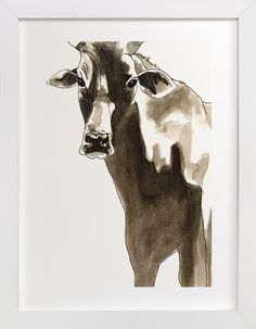 """""""In the Presence of the Cow"""" - Art Print by Alaine Ball in beautiful frame options and a variety of sizes."""
