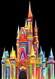 Cinderella Castle Becomes Finger-Painted in the Style of Peter Max During 'The Magic, The Memories and You!' Summer Celebration at Magic Kingdom Park