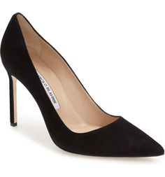 Shop the Manolo Blahnik BB Tora Heel Pump in Black Suede as seen on Meghan Markle, the Duchess of Sussex Pointed Toe Pumps, Stiletto Heels, High Heels, Stilettos, Women's Shoes, Me Too Shoes, Fancy Shoes, Formal Shoes, Court Shoes