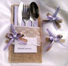 jmenovka 2v1 - obal na příbor 6 / Zboží prodejce verixlenka svatební   Fler.cz Place Settings, Table Settings, Napkin Folding, Gray Weddings, Table Runners, Wedding Bouquets, Bridal Shower, Napkins, Wedding Day