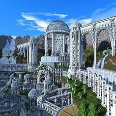Minecraft city with elaborate arches