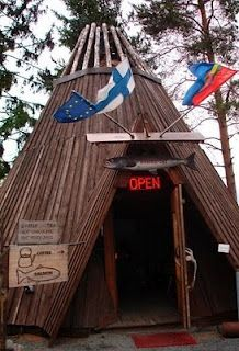 """An authentic Finnish """"Sami"""" tent where they cooked salmon inside!"""